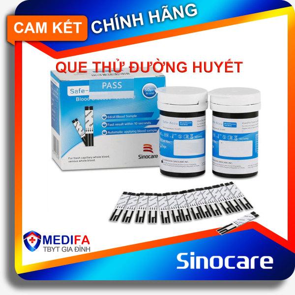 Nơi bán COMBO Que thử đường huyết Sinocare Safe ACCU hộp 50 que thử + 50 kim chích máu - Kim và Que cùng hãng SINOCARE