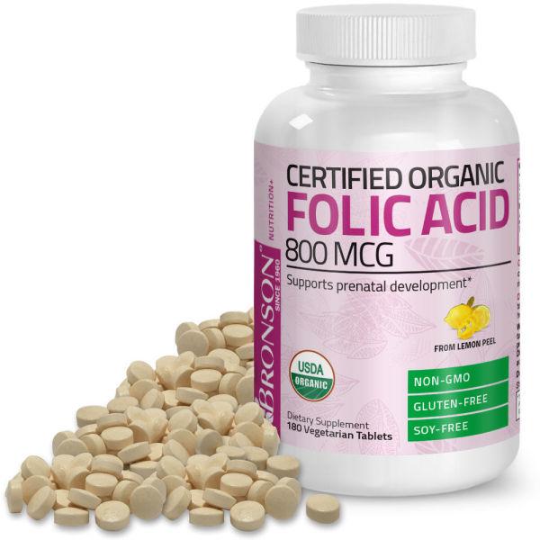 Organic Folic Acid 800mcg - 180 viên Mỹ - Ngừa thiếu máu, bổ sung acid folic cho phụ nữ mang thai
