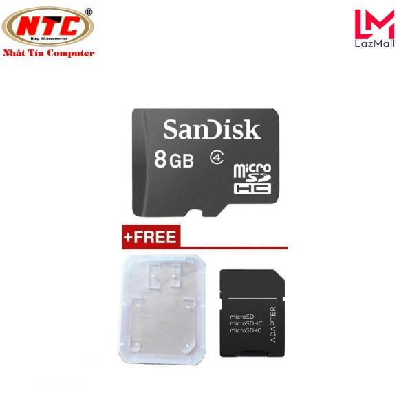 Thẻ nhớ MicroSDHC Sandisk 8GB Class 4 không box + Tặng 01 adapter và 01 hộp thẻ - Nhat Tin Authorised Store