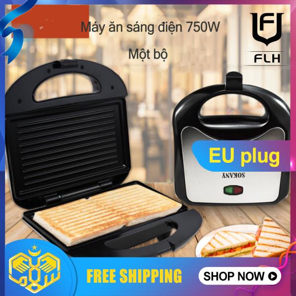 Flh 750W Máy Làm Bánh Sandwich Chạy Điện Mini Nướng Máy Nướng Bánh Mì Nhà Bếp Bữa Sáng Máy Nướng Bánh Mì (1 Bộ)