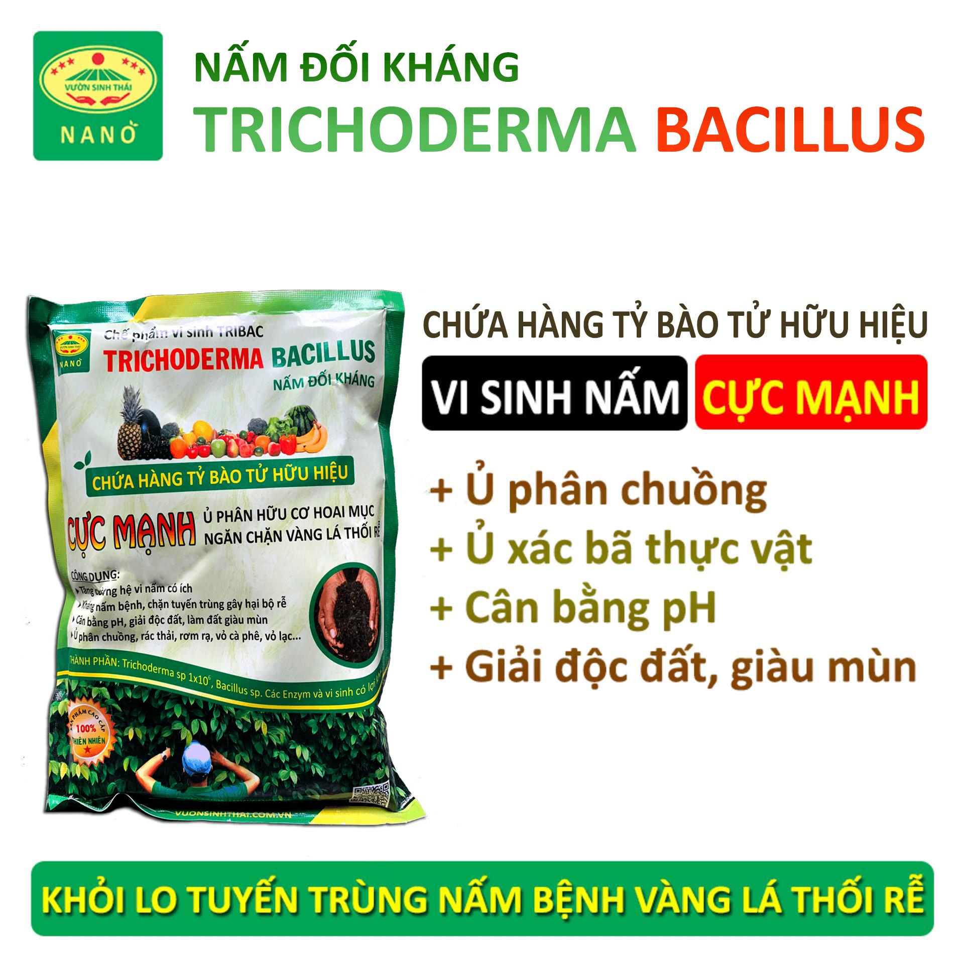 1kg Nấm đối kháng Trichoderma. Chế phẩm vi sinh TRIBAC. Ủ phân chuồng rác bã hữu cơ hoai mục không mùi hôi, làm phân bón. Ngăn chặn nấm bệnh gây thối rễ vàng lá. Hàng chính hãng. Mới nhất. HSD: 2 năm