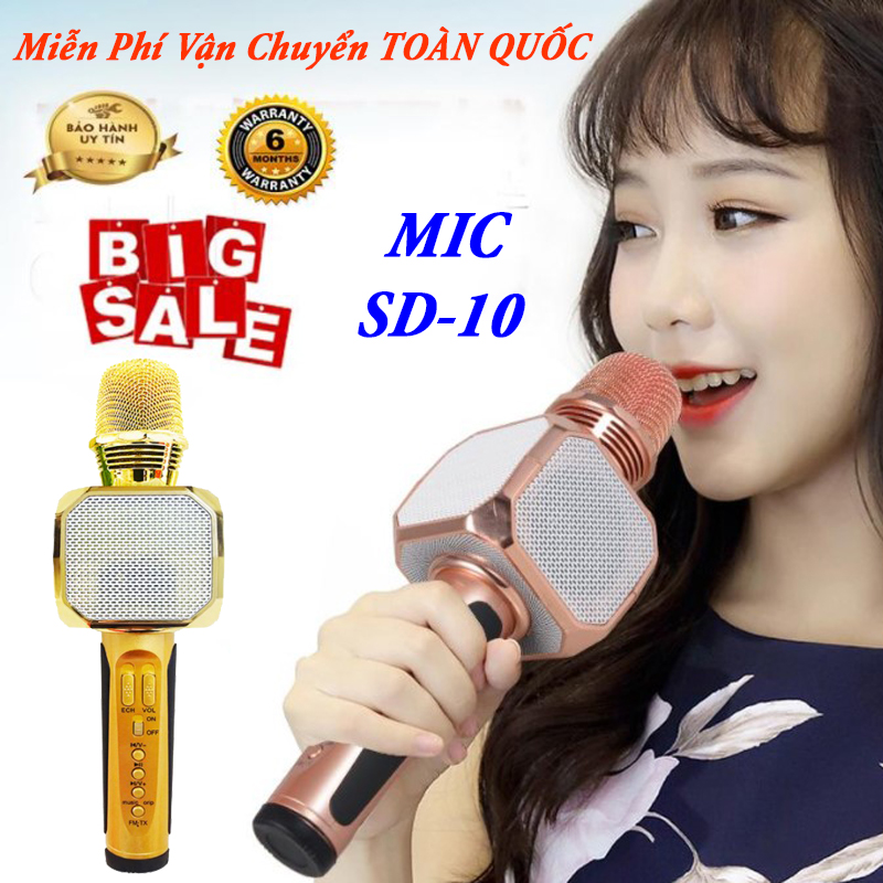 Micro Bluetooth Karaoke SD 10, Loa Cầm Tay Hát Karaoke, Micro Bluetooth Không Dây Kèm Loa Cao Cấp. Dễ dàng kết nối với các thiết bị di động, Bảo hành 6 tháng 1 ĐỔI 1. UY TÍN & CHẤT LƯỢNG