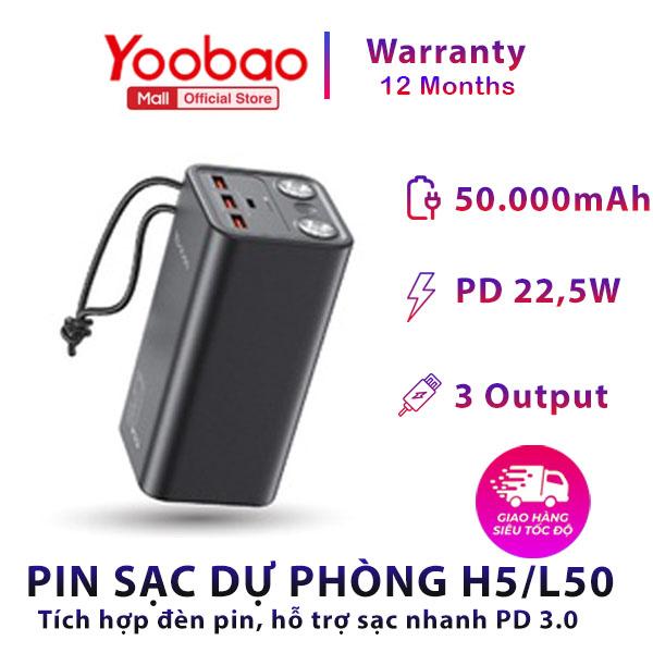 Pin sạc dự phòng Yoobao H5 50000mAh - Tích hợp đèn pin siêu sáng - Sạc nhanh cho điện thoại, macbook, laptop,... Thích hợp cho chuyến du lịch xa, công tác,... - Hàng phân phối chính hãng - Bảo hành 12 tháng 1 đổi 1