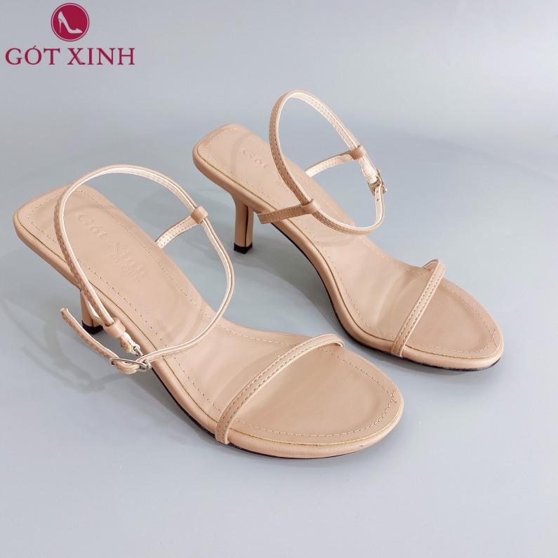 Sandal Cao Gót Gót Xinh Quai Ngang Mỏng Đế Cao 5cm Da Mềm Gót Nhọn GX207 giá rẻ