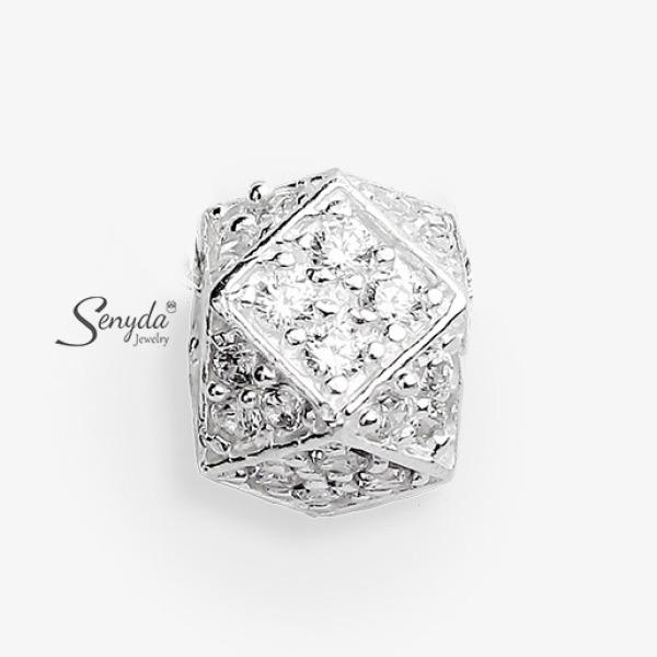 Dây chuyền bạc Senyda đa giác đá xỏ DC512