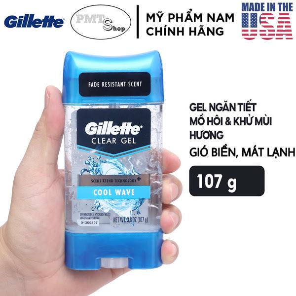 [USA] Lăn khử mùi nam dạng Gel Gillette Cool Wave 107g Endurance mẫu mới - Mỹ