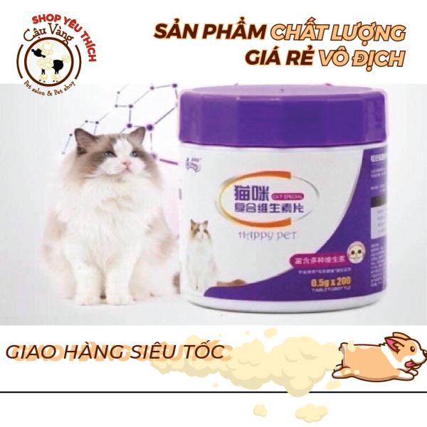 Vitamin  Happy Pet  tổng hợp tăng sức đề kháng , hỗ trợ hô hấp bổ máu, dưỡng lông và phát triển toàn diện ,rất tốt cho mèo bầu, mèo con