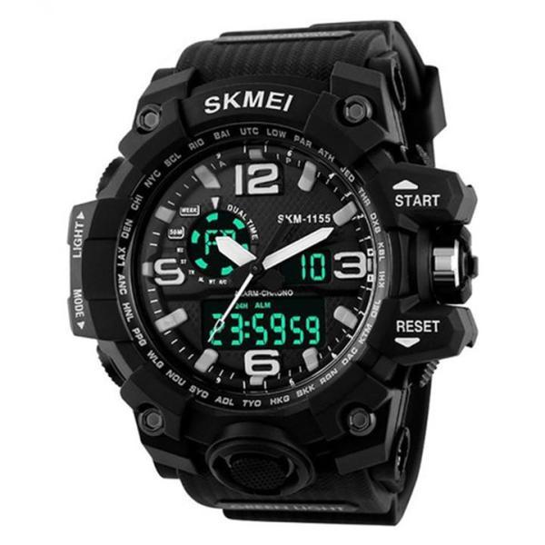 Đồng hồ điện tử thể thao dây cao su 22mm SKMEI 1155 đa chức năng chống nước kiểu máy Quartz Nhật thiết kế phong cách thể thao bán chạy