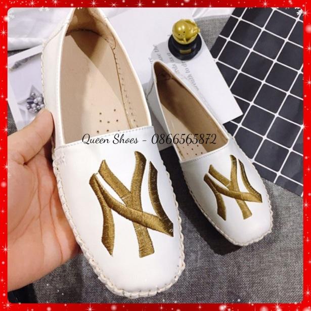 giày lười nữ, giày slion nữ thêu NY đế bệt cao su đúc khâu viền da mềm siêu xinh giá rẻ