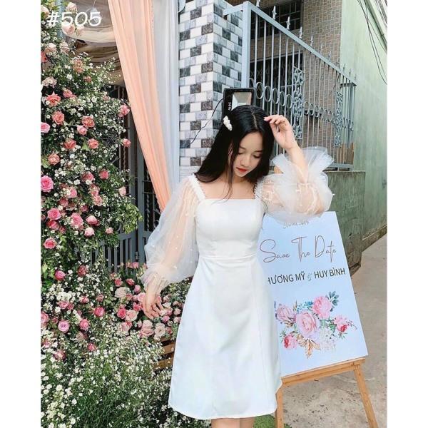 [Mới] Đầm Dự Tiệc Tay Đính Ngọc Chất UMI Dày Dặn Xinh Yêu (size XS, S, M)
