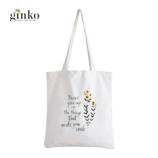 Túi Vải Tote GINKO Kiểu Basic Dây Kéo In Hình Never Give Up G128 thumbnail