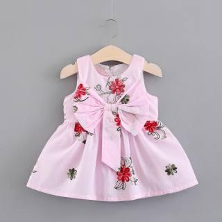 KTtrade Váy Bé Gái 0-3 Tuổi Bbay Đầm Thêu Hoa Không Tay Thoáng Khí Thiết Kế Nơ Vải Bông 100% Quần Áo Bé Gái