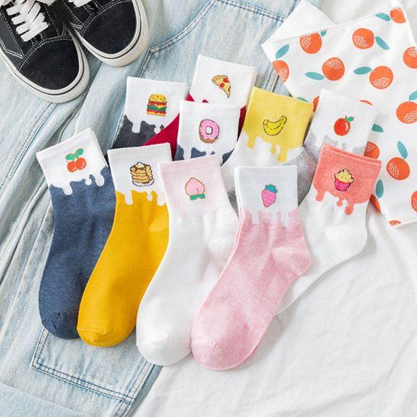 Giá bán MIEELAA Gift Cute Fruit Food Novelty Funny Donut Crew Socks Long Sock Cotton Socks Casual