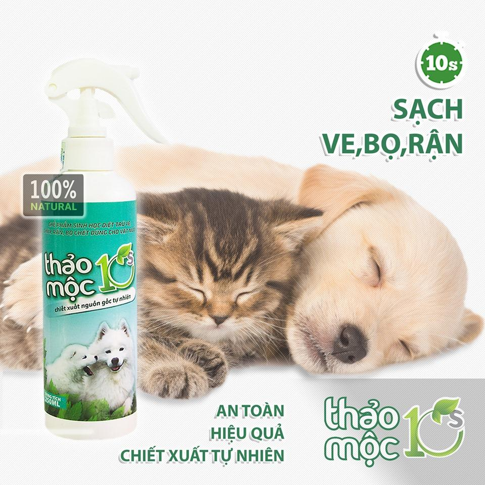 Bình Xịt Ve Rận Chó Mèo 250ml Thảo Mộc 10s Khuyến Mại Hot