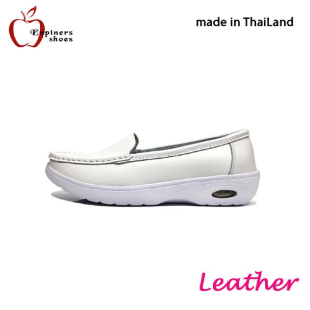 Giày moca nữ Thái Lan đế xuồng da bò mềm màu trắng tinh khôi chính thương hiệu Enpiners H-8199 2020 giá rẻ
