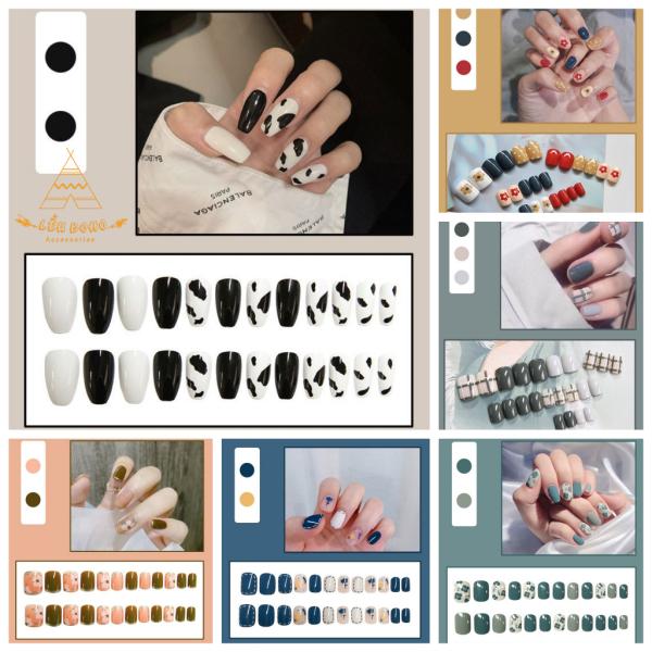 [Tặng keo dán] Bộ 24 móng tay giả họa tiết