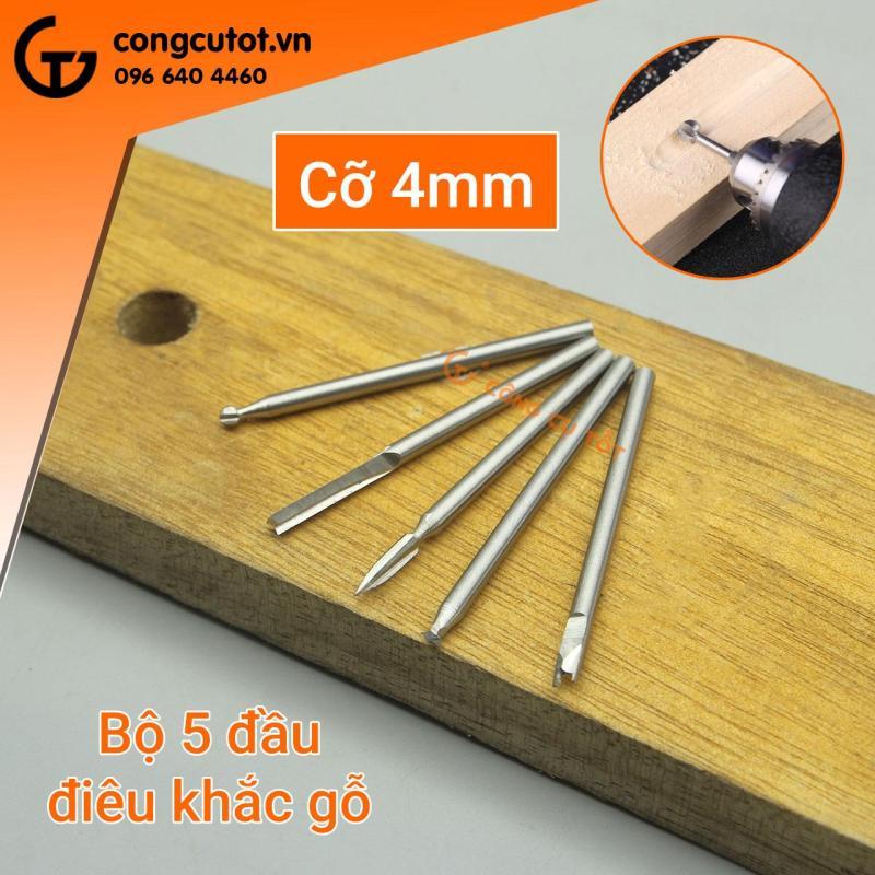 Bộ 5 đầu điêu khắc gỗ trục 3mm bằng thép gió các cỡ 4-6-8mm