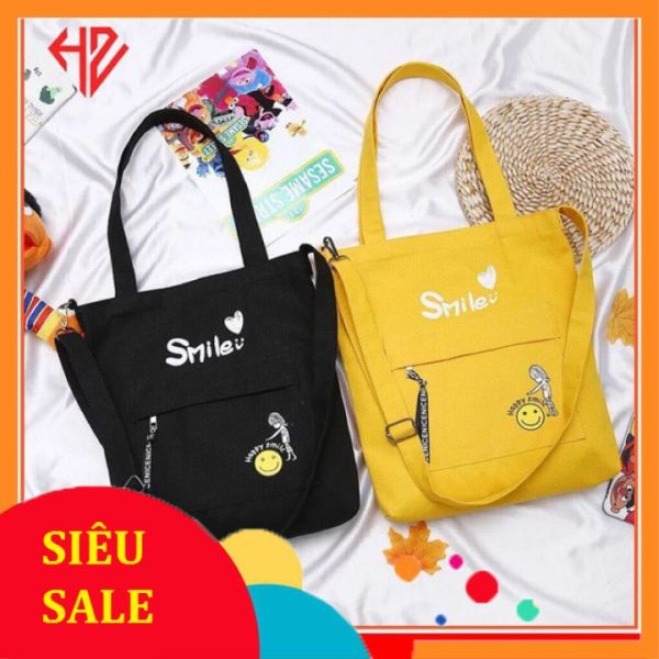 Túi tote thời trang kiểu mới chữ HAPPY SMILE
