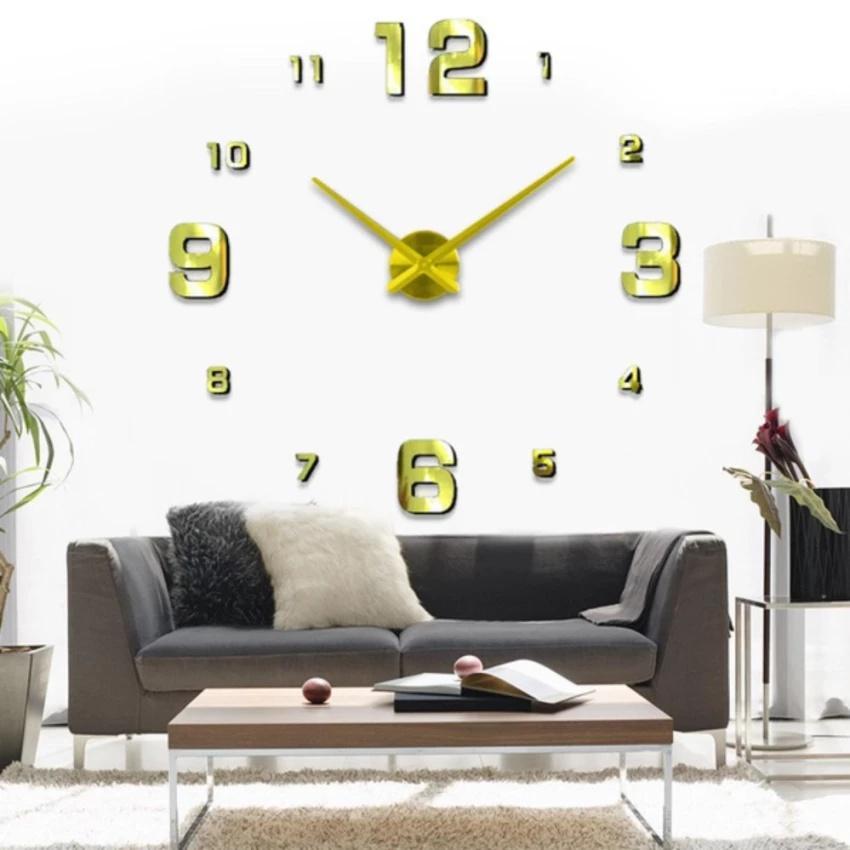 Đồng hồ treo tường cỡ lớn tới 120x120cm DIY 3D cho phòng khách hiện đại DCR-01 bán chạy