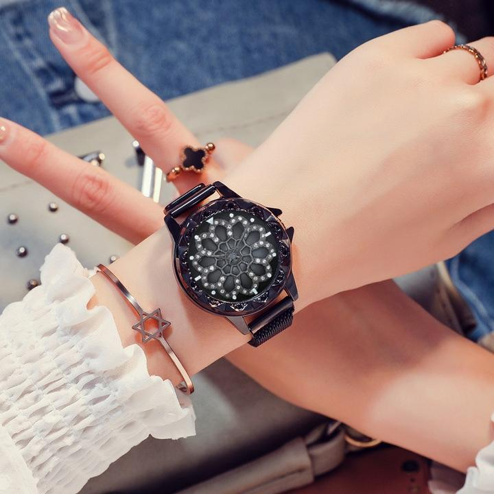 Nơi bán Đồng hồ mặt hoa xoay dây nam châm thời trang