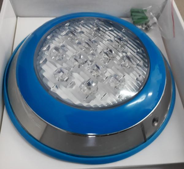 Đèn led dưới nước vỏ ngoài Inox viền xanh 7 màu có nhiều màu ánh sáng đổi màu tự động 12W-12V dùng trang trí bể bơi, sân vườn hoặc hồ cá - Thiết bị trang trí bể bơi