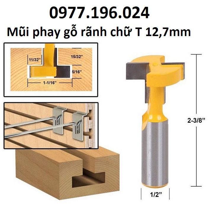 Mũi phay gỗ rãnh chữ T cốt 12ly7 - Mũi soi máy phay gỗ router cầm tay -