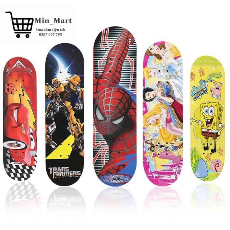 Giá bán Ván Trượt Trẻ Em Cao Cấp Thể Thao Skateboard Gỗ Phong Ép, Họa Tiết Hoạt Hình, Bánh Cao Su Chịu Lực Tốt MS:06