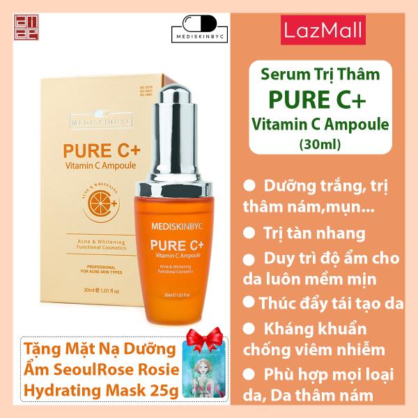 Tinh chất serum dưỡng trắng da , mờ thâm nám tàn nhang Mediskinbyc pure C 30ml Tặng 01 mặt nạ cấp ẩm SeoulRose Rosie Mask 25g