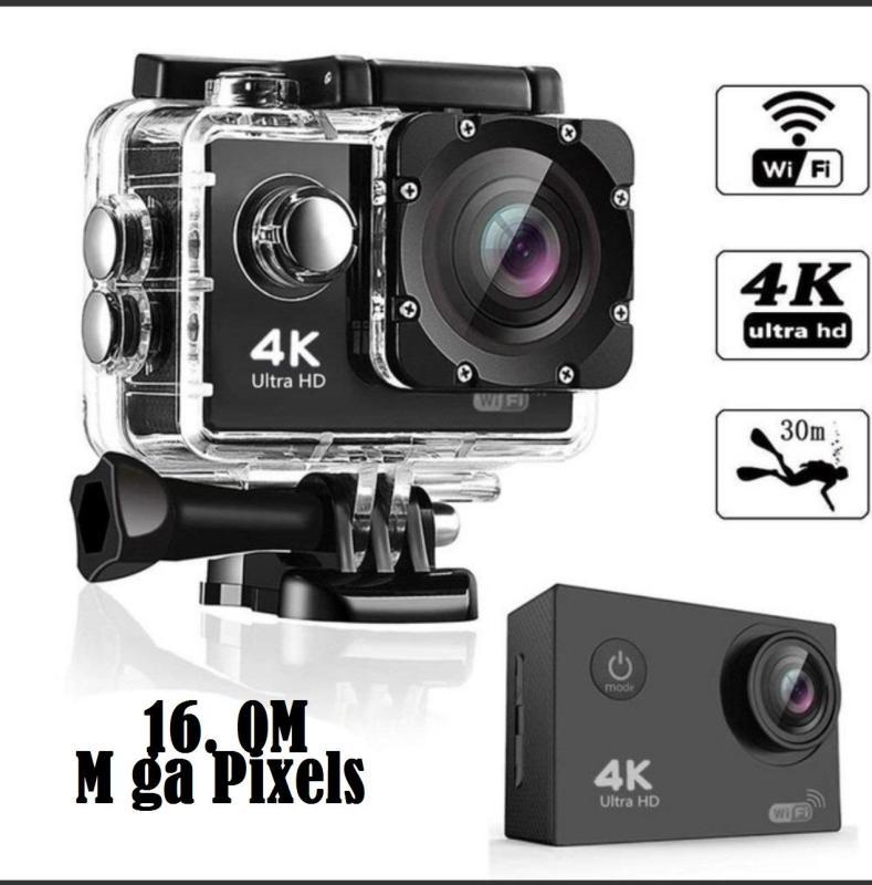 Camera hành trình   chống nước 4K SPORT  Ultra HD DV, kết nối WF bằng  phần mềm ( Goplus  Cam), góc quay 170 độ, 16.0M( M ga Pixels) , hỗ trợ lắp thẻ lên đến 64G,