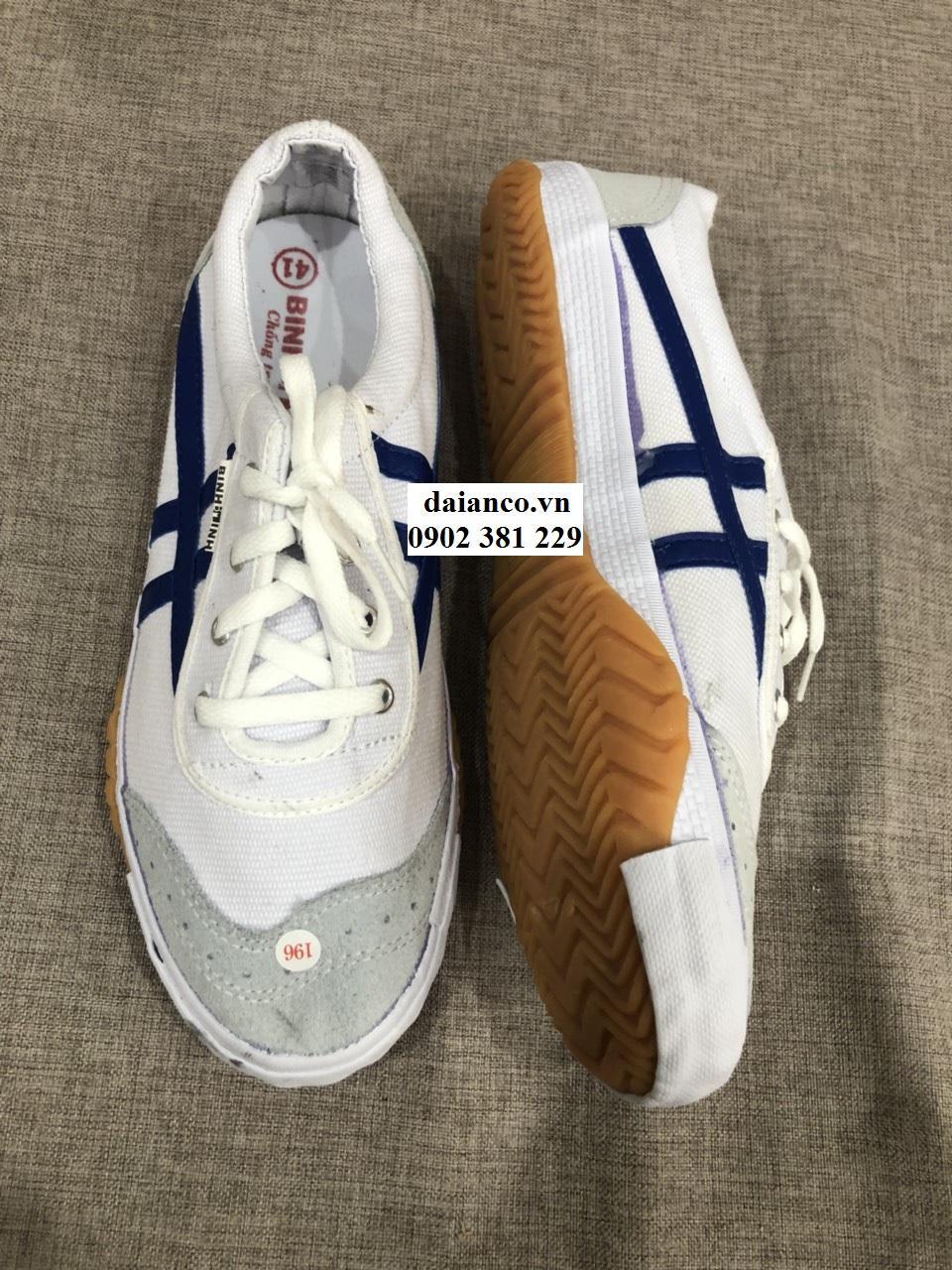 Giày vải bata trắng sọc xanh Bình Minh