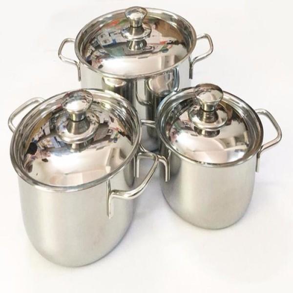 [SALE CUỐI NĂM] Bộ 3 nồi inox SHARP nắp inox 24cm 20cm 16cm dùng dược bếp từ và mọi loại bếp , bộ ba nồi inox chắc chắn cao cấp