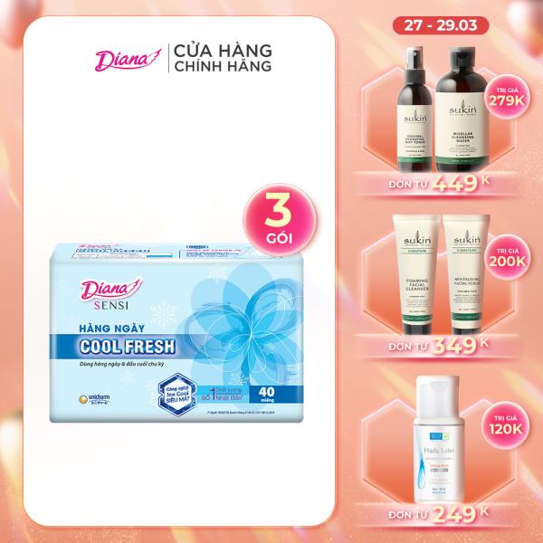 Bộ 3 gói Băng vệ sinh Diana hàng ngày Sensi Cool Fresh gói 40 miếng