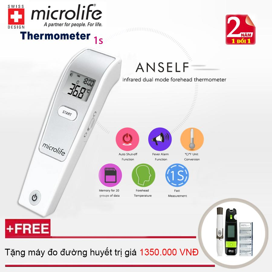 Nhiệt kế hồng ngoại đo trán Microlife FR1MF1 + Tặng máy đo đường huyết cao cấp ( Bảo hành trọn đời ) bán chạy