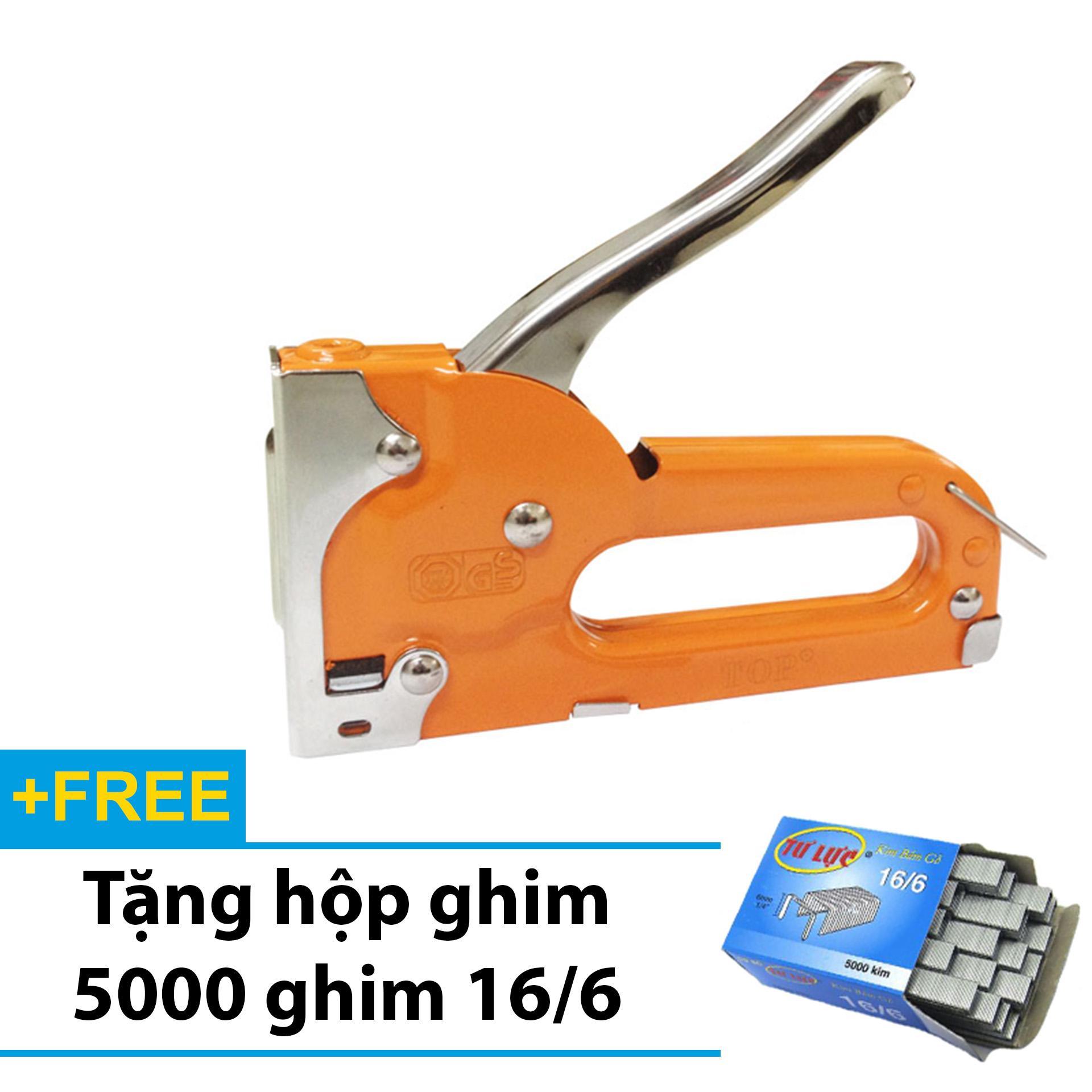 S.úng bắn ghim - Kìm bấm ghim TOP cầm tay đa năng, tiện dụng - Tặng 5000 ghim 16/6 - Kềm bắn ghim gỗ chuyên dụng (Cam)