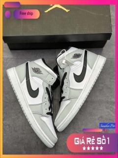 (Video cận cảnh + FULL BOX) Giày thể thao nam nữ Air Jordan 1 Mid Light Smoke Grey su hướng thời trang thumbnail