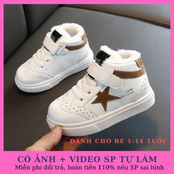 Giày trẻ em cao cấp chất liệu da PU đế lót lớp lông mền mại, thoáng khí tốt phong cách Hàn Quốc dành cho bé 1-14 tuổi