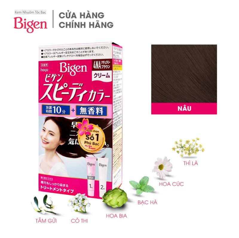 Thuốc nhuộm dưỡng tóc phủ bạc thảo dược Bigen Nhật Nhập Khẩu 100% Nhật Bản Speedy Color Cream 80ml dạng kem - Nâu 4NA nhập khẩu