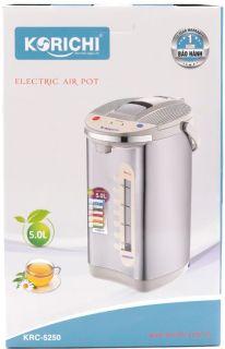 Bình thủy điện Korichi KRC-5250 - Bình thủy điện 5L thiết kế hệ thống khóa an toàn, chân đế xoay 360o, ruột phích inox an toàn cho sức khỏe thumbnail