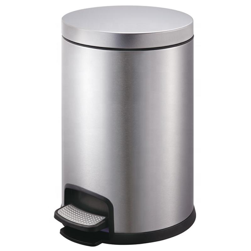 Thùng rác inox đạp chân cao cấp, dung tích 12L, mã SJ12-Y01, dáng tròn chất liệu inox