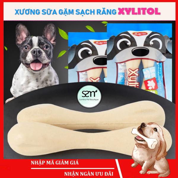 Xương sữa gặm sạch răng cho chó Xylitol (Bịch 2 cây 5cm) 12gr/bịch - Bánh thưởng cho chó mèo