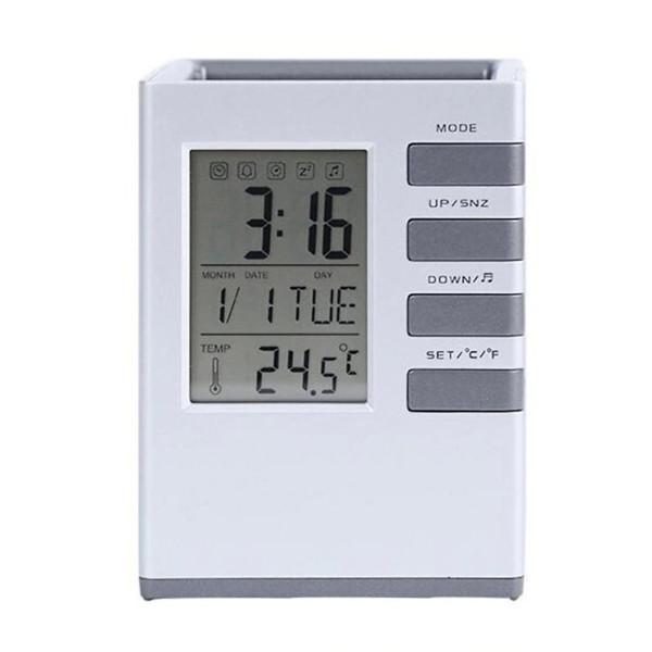 Nơi bán Đồng hồ báo thức,đo nhiệt độ kiêm giá đựng bút để bàn thông minh
