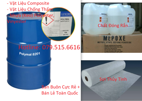 1Kg Nhựa Composite (Chống Thấm) + 1m2 Sợi Thủy Tinh + KM Chất Đóng Rắn Nhựa (Bộ Sản Phẩm Hot)