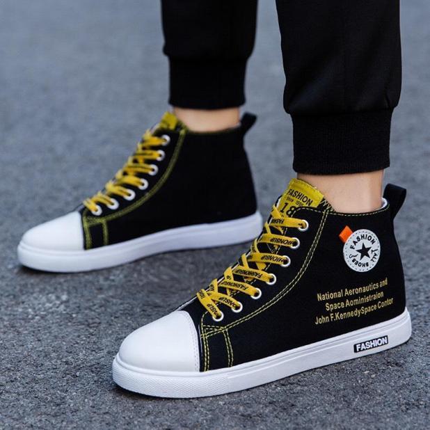 Giày Nam Cổ Cao Fashion Đen Vàng Vải Thoáng Khí Cao Cấp - MinhNhat, Kiểu Dáng Đơn Giản Thời Trang, Đế Tổng Hợp Siêu Êm giá rẻ