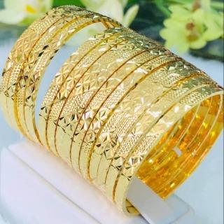 [Siêu khuyến mãi-Miễn phí vận chuyển] Bộ vòng ximen 7 chiếc mạ vàng 18K cao cấp JK Silver khóa vàng thật, vòng ximen bản 4 li khóa vàng thật, giống vàng thật 99% ,cam kết không đen, đeo cực sang chảnh,trang sức nữ vàng thumbnail