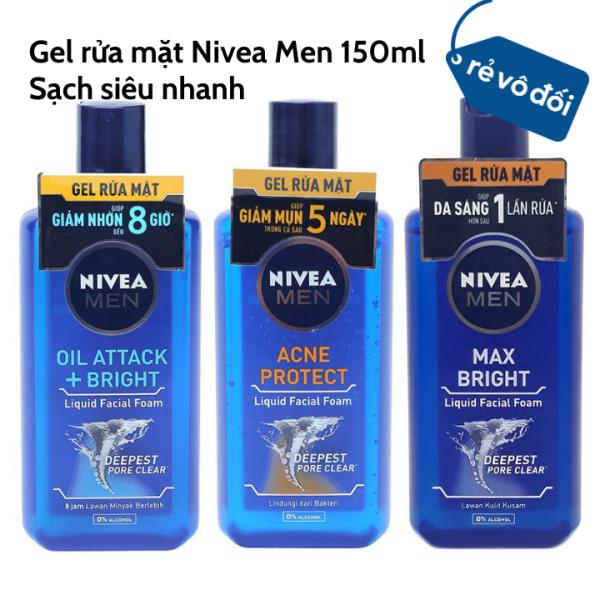 Gel rửa mặt giúp giảm mụn trứng cá Nivea Men 150ml  Hàng công ty cao cấp