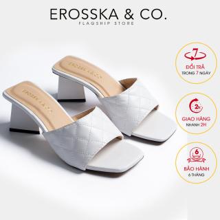 Dép nư , de p cao go t Erosska thời trang mũi vuông quai ngang phối gót sơn gỗ kiê u da ng thanh li ch cao 5cm EM045 (WH) thumbnail