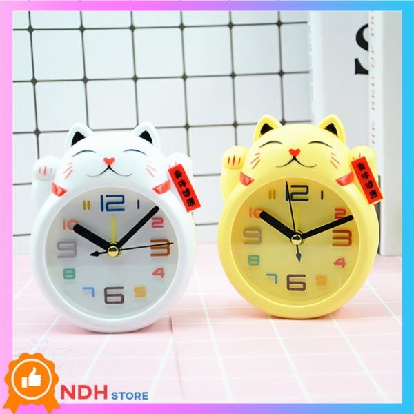 Nơi bán Đồng hồ để bàn hình Mèo May mắn [ Đồng hồ để bàn Cute - Đồng hồ báo thức - Đồng hồ học sinh dễ thương ]