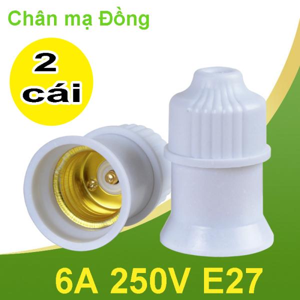 2 Đuôi đèn Treo E27 6A 250V chân mạ đồng