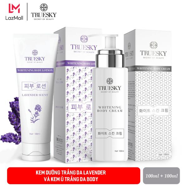 Bộ tắm trắng body cấp tốc Truesky hương nước hoa Pháp gồm (1 kem ủ trắng body 100ml & 1 kem body dưỡng trắng 100ml)