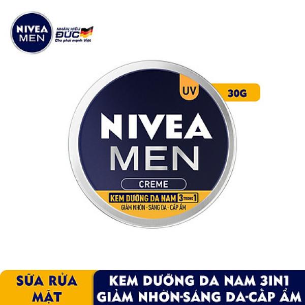 Kem Dưỡng Da Nam NIVEA MEN Creme 3in1 Giúp Giảm Nhờn, Sáng Da, Cấp Ẩm (30G) - 83923 giá rẻ